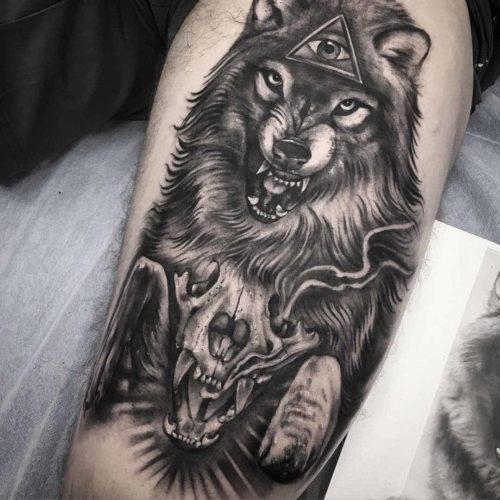Tatuajes de lobo free tatuajes en el antebrazo interior for Calavera lobo